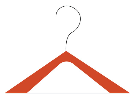 A wooden hanger to hold or hang clothes vector color drawing or illustration