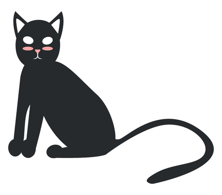 A black cat with shiny fur and long tail vector color drawing or illustration