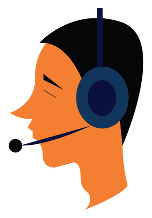 A pilot is contacting others over the blue headset vector color drawing or illustration