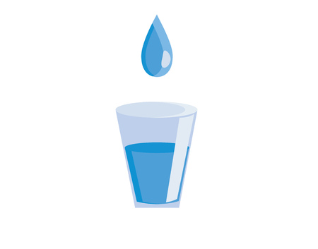 Drop of clear blue water is pouring in the glass vector color drawing or illustration Ilustração