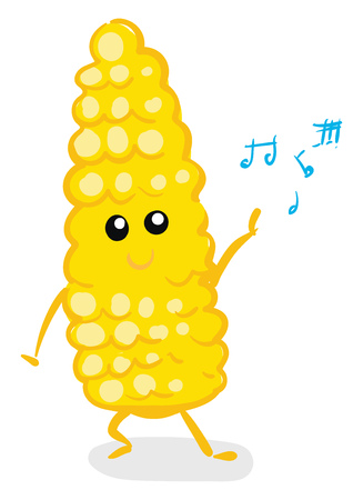 Vector illustration on white background of a a dancing yellow happy corn