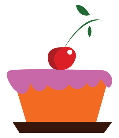A yummy pink fondant cake with cherry decoration vector color drawing or illustration