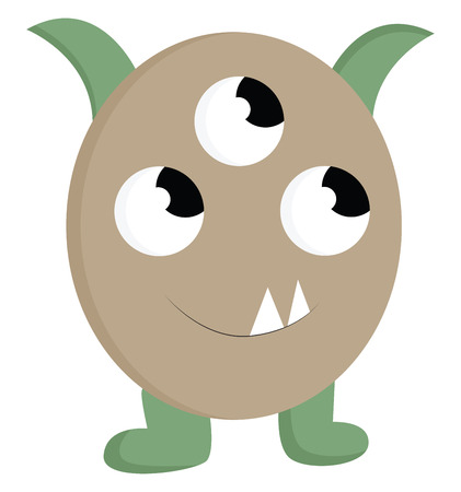 Baby monster with 3 eyes illustration color vector on white background