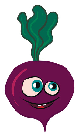 Vector illustration of a smiling purple beet with green leaves white background Standard-Bild - 123452451