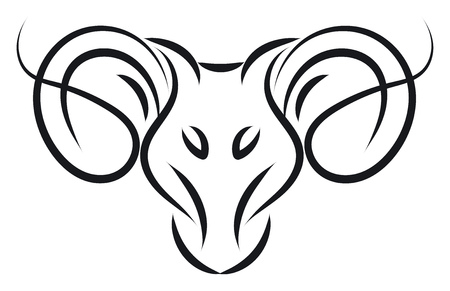 Aries sign tattoo illustration color vector on white background