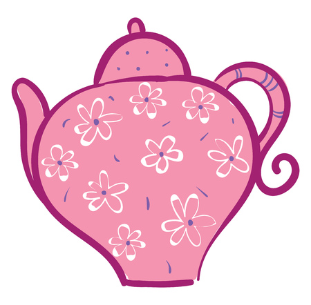 Pink teapot with white flowers vector illustration on white background