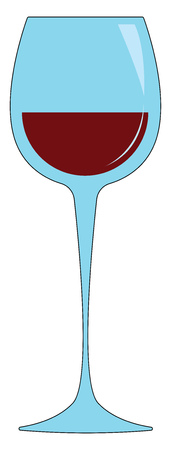 Simple vetor illustration of a wine glass with red wine white background