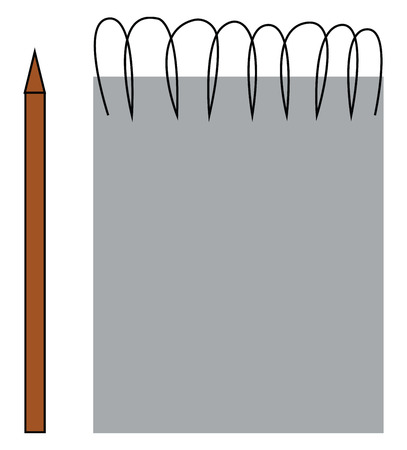 A blank page of spiral sketchbook and pencil to draw vector color drawing or illustration
