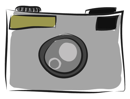 Blue color silhouette of a modern day automatic camera vector color drawing or illustration Archivio Fotografico - 120989726