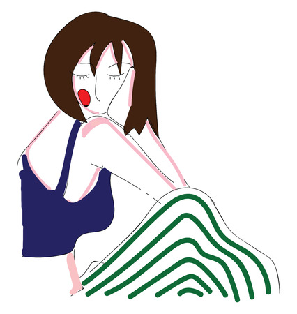 Abstract portrait of a girl in white and green stripe pants and blue top  vector illustration on white background