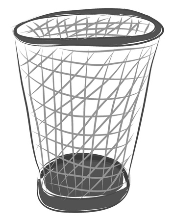 Empty trash basket illustration color vector on white background