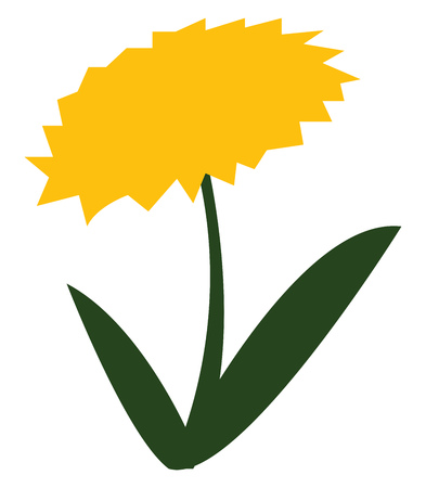 Clipart of a little yellow flower with green stem and two long leaves vector color drawing or illustration