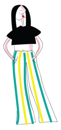 Woman in pants on stripes illustration color vector on white background