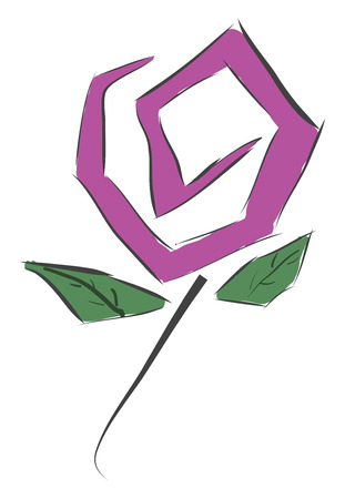 Simple purple flower with gren leaves vector illustration on white background