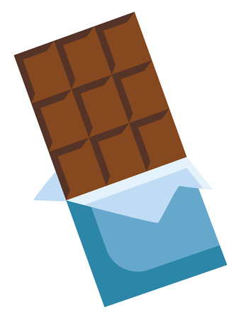 Two in one chocolate bar with layer of milk chocolate in between vector color drawing or illustration Banque d'images - 123452483
