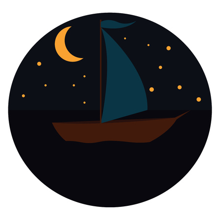 Sailing boat in the night illustration print vector on white background Illusztráció