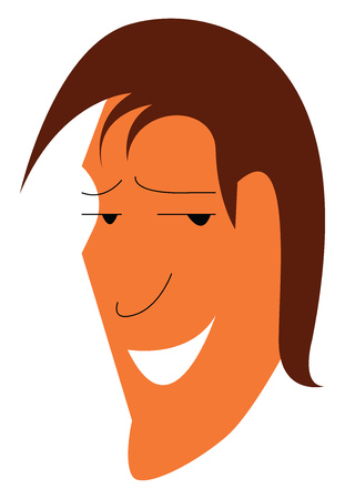 Smiling face of a man with stylish hair cut vector color drawing or illustration Standard-Bild - 120988709