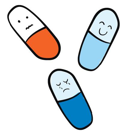 Simple illustration of medecine tablets vector illustration on white background