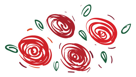 Beautiful design made with red rose flowers vector color drawing or illustration