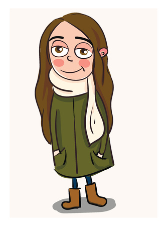 Cute smiling girl with long brown hair in a long green coat and white scarf vector illustration on white background Ilustracja