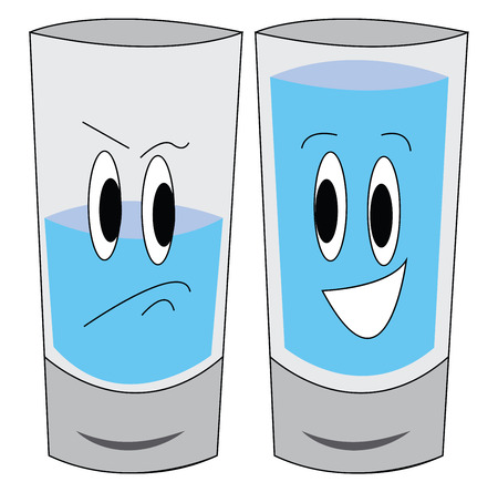 Vector illustration of a sad half-full glass of water and a happy full glass of water white background