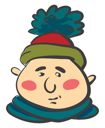 A healthy man covered in colorful warm winter clothes vector color drawing or illustration