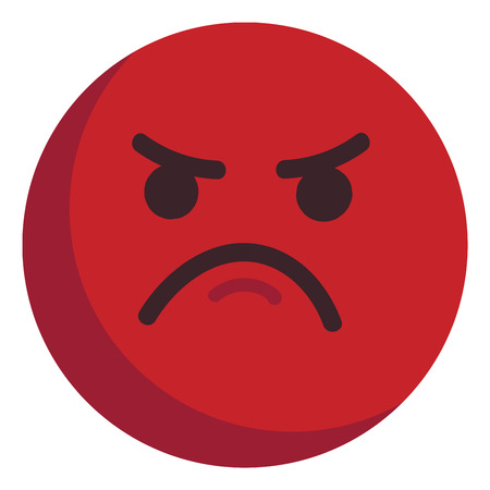 Angry red emoticon unhappy illustration color vector on white background Ilustrace
