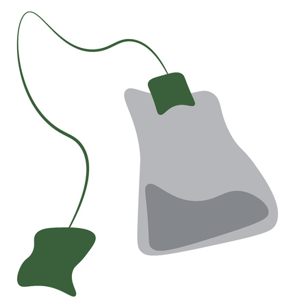A disposable teabag used for making tea vector color drawing or illustration