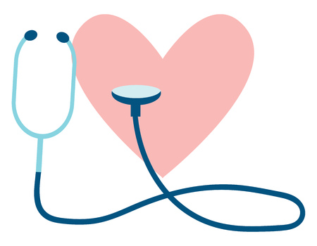 Clipart of a heart and stethoscope depicting a heart check up vector color drawing or illustration