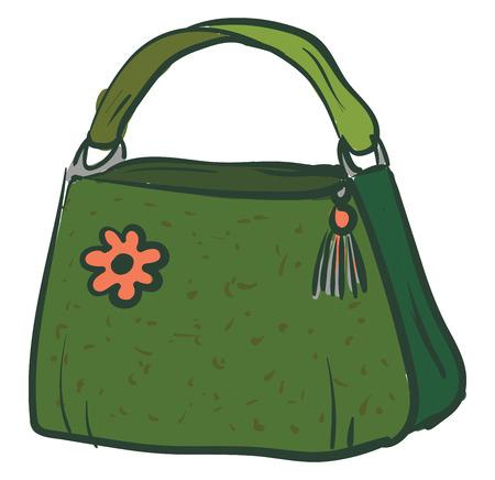 Green handbag with a pink flower vector illustration on white background Illustration