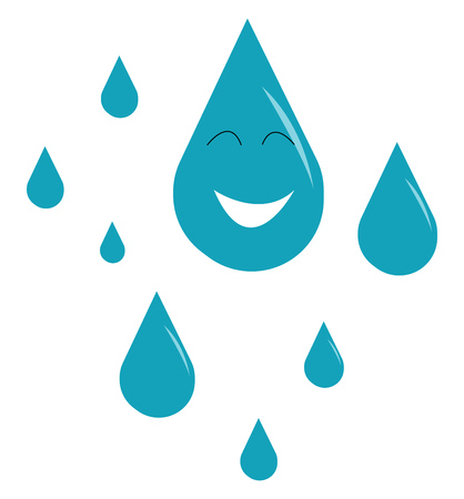 Blue raindrops depicting the heavy down pour vector color drawing or illustration