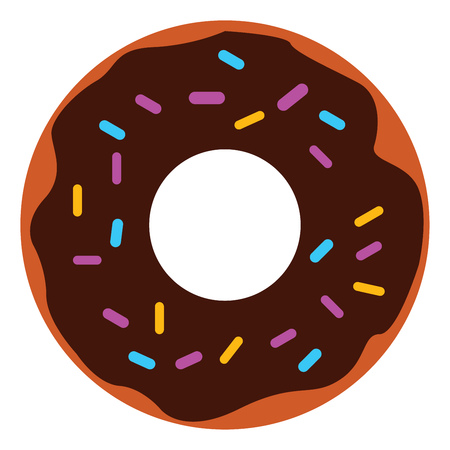 Vector illustration of a chocolate cream donut with colorful sprinkles on white background Illusztráció