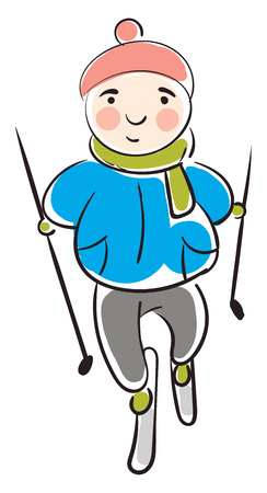Child in a ski equipment illustration color vector on white background