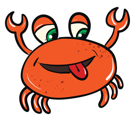 Vector illustration of funny orange smiling crab on white background