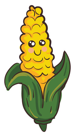 Vector illustration of a cute smiling yellow corn with green leaves on white background