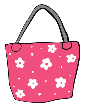 Pink bag with white flowers and grey handle vector illustration on white background Illustration