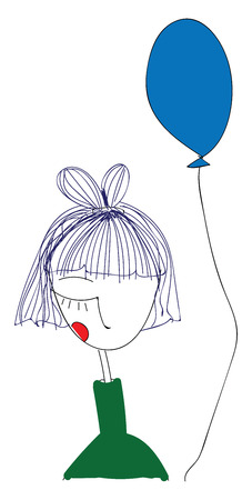 Abstract portrait of a girl in green shirt holding a blue balloon  vector illustration on white background