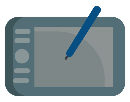 Grey graphic tablet with blue pen vector illustration on white background Ilustração