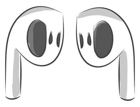 White airdrop headphones illustration color vector on white background Illusztráció