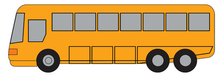A red and black double decker bus on the road vector color drawing or illustration