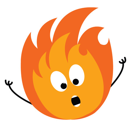 Cartoon of a scared orange and yellow fire vector illustration on white background