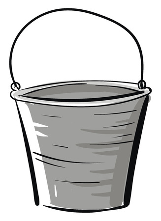 Simple vector illustration of a grey bucket on white background