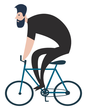Vector illustration on white background of a cyclist dressed in black on a blue bicycle