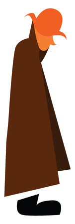 A man wearing brown overcoat and hat is walking on the road with his face down vector color drawing or illustration