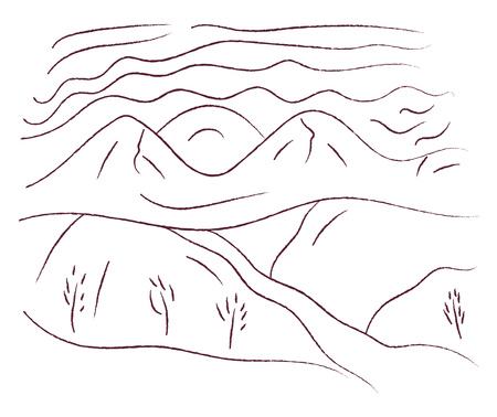 A black and white line art of landscape with hilly area and harvest field vector color drawing or illustration