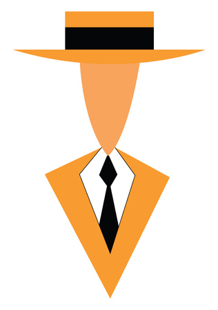 A gentleman in yellow formal suite black tie and matching hat vector color drawing or illustration