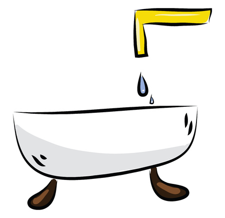 Bathtub with faucet illustration color vector on white background