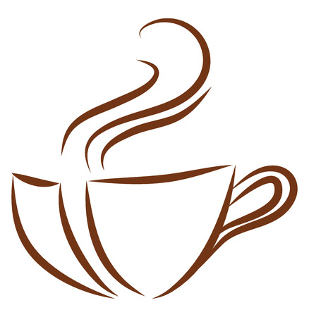 Brown coffee cup logo illustration color vector on white background 矢量图像