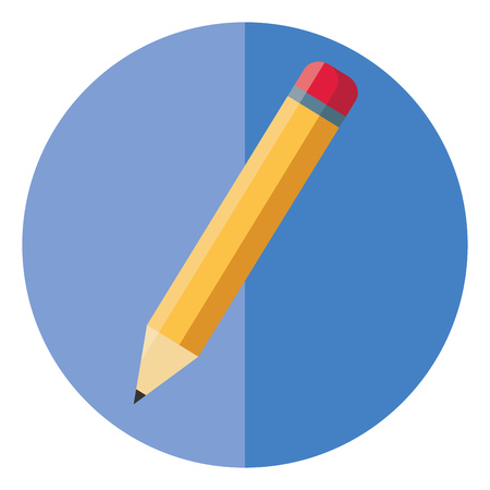 A sharpened lead pencil with eraser on the top vector color drawing or illustration Illustration