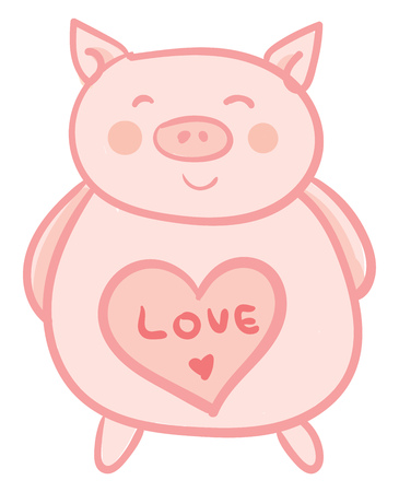 A piglet soft toy with a printed red heart and love message vector color drawing or illustration Vektoros illusztráció